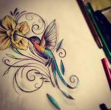 humming bird and flower tattoos humming birds