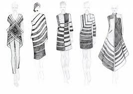 fashion sketchbook striped dresses fashion design drawings