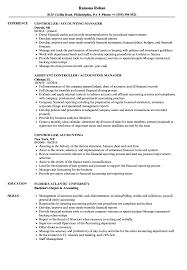 controller accounting resume samples velvet jobs