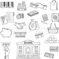 money banking services and shopping sketch symbols for business