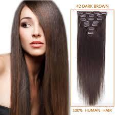elegance hair extensions inch clip in human hair extensions 2 darkest