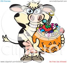 royalty free rf clipart illustration of a trick or treating cow
