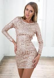 rose gold sequin long sleeve dress w open back