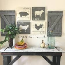 Kitchen Rustic Design Farmhouse Animal Decor 4 Pcs Set Modern Farmhouse Wall