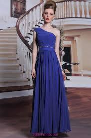 handmade beads royal blue one shouler prom evening dresses 2017