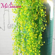 artificial grass rattan green fake leaves flower vine wind bells