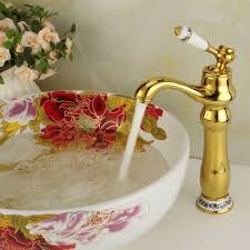 gold bathroom faucets tall basin sink water tap square bathroom