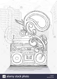 line drawing of boombox in front of city scape stock photo
