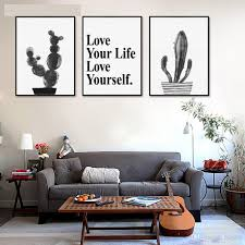 2017 watercolor cactus decorative pictures nordic black white