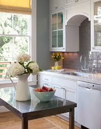 white kitchen cabinets with grey walls gray subway tile backsplash design ideas