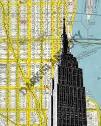 Manhattan New York Map by Empire State Building New York City Manhattan Home Decor Nyc