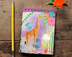 giraffe pattern notebook giraffe sketchbook etsy