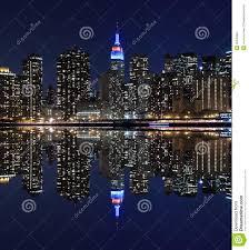 manhattan skyline at night lights new york city stock images