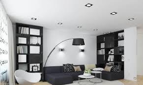 salon avec canapé noir design interieur salon noir blanc canapé noir fauteuil murs blanc