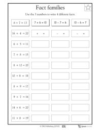 fact family worksheets for first grade free worksheets library