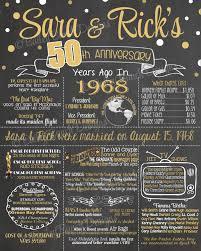 50th anniversary gift 50th anniversary chalkboard 50th wedding anniversary years ago