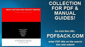 reset artisan 800 service manual video dailymotion