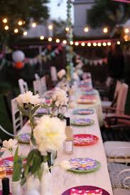 decorations outdoor garden with long white table with white