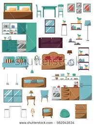 Elements Home Decor Set Domestic Living Room Elements Furniture Stock Vector 579780883