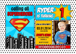2nd Birthday Invitation Card Superman Superhero Birthday Invitation 1st 2nd 3rd 4th