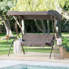Gazebo Porch Swing by Outdoor Patio 2 Person Porch Swing With Adjustable Tilt Canopy And