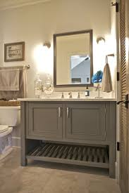 this bathroom features a painted maple inset cabinet vanity in a