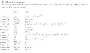 discrete mathematics time complexity for asymptotic functions