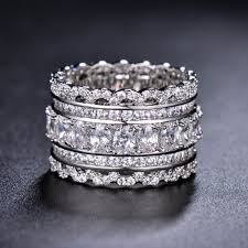 unique wedding band art deco cubic zirconia ring eternity ring