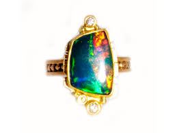turquoise opal diamond opal ring in gold handmade by santa fe artist miles standish