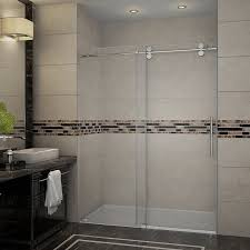 aston langham 60 x 75 single sliding completely frameless shower