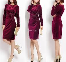 2016 women winter office midi dress red velvet dress o neck long