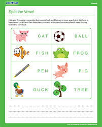 spot the vowel free 1st grdae english worksheet jumpstart