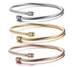 rose bangle bracelet images Stainless steel triple 3 stackable cable wire twisted jpg