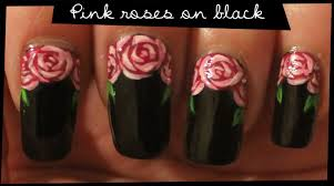pink roses on black nail art youtube