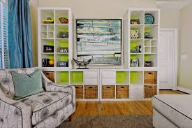 ikea billy bookcase white lime green colors bination in an
