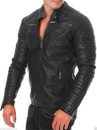 motorcycle wear men leather jacket handmade black motorcycle solid lambskin