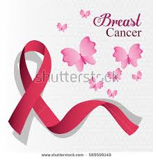 breast cancer ribbon butterfly card stock vector 589599149