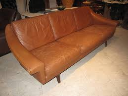 Modern Leather Sofa Danish Modern Leather Sofa With Stitching Detail For Sale At 1stdibs