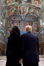 trump and melania hold hands in sistine chapel observe last trump and melania hold hands in sistine chapel observe last judgement