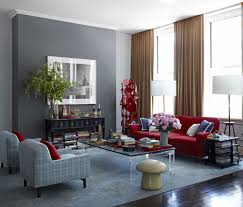 elegant red sofa combined with brown curtain and gray wall paint