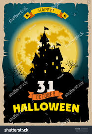 halloween party old poster happy holiday stock vector 154088549