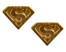 superman earrings enreverie earrings lightweight gold plated superman logo stud