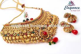 wedding gold set wholesale wedding wear necklace set indian dulhan jewelry set