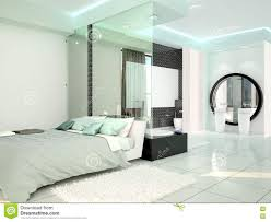 chambre high tech bedroom with bathroom in a modern high tech style stock