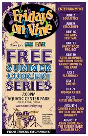 2017 fridays on vine schedule of performers tooele city
