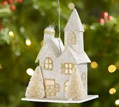 lit glitter house ornament silver pottery barn
