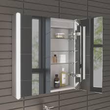 bathroom simple illuminated bathroom mirror cabinet with shaver