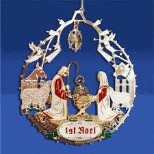 plated brass nativity christmas tree ornament