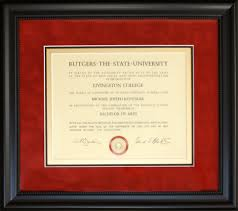 Picture Frames And Mats by Rutgers Diploma Framed With Red Suede Mat Gold Accent Inner Mat