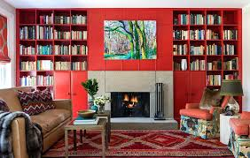 interior design book color interior design red living room with bookcases color interior